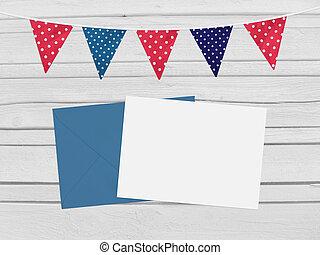 Birthday, baby shower mockup scene with envelope, blank...