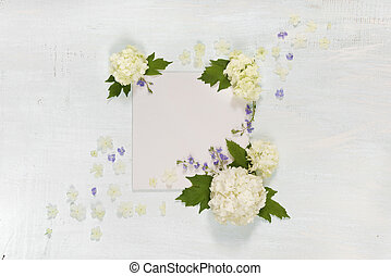 Scrapbook page with white and blue flowers - Scrapbooking...