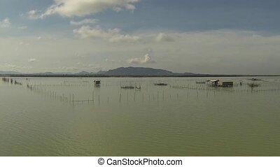 Thai fishermen water village, aerial view clip