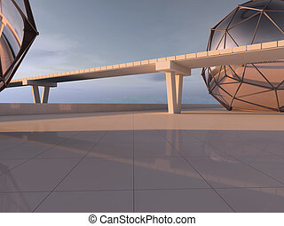 Bridge road and Highway with horizont line. 3D rendering