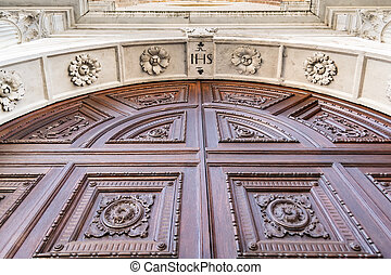 Detail of the portal in Gothic-Renaissance style - Detail of...