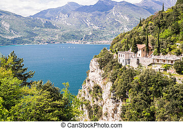 Panorama of the gorgeous Lake Garda surrounded by mountains....