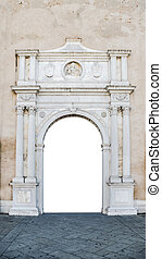 Marble portal in Gothic-Renaissance style suitable as frame...