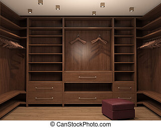 Empty dressing room, interior of a modern house. 3d...