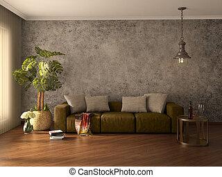 Modern interior. 3d illustration