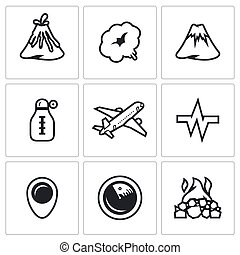 Vector Set of Volcano Icons Eruption, Smoke, Hill,...