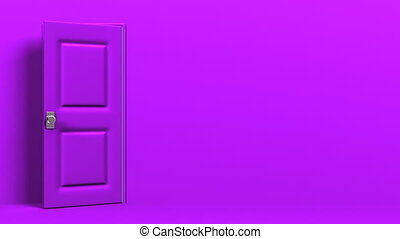 Purple Door With Text Space And Green Chroma Key Zoom View...