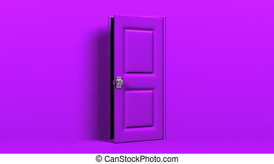 Purple Door And Dark Room Zoom View Abstract 3DCG render...