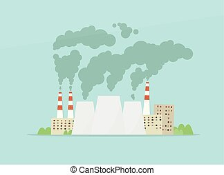 cartoon vector factory. air pollution