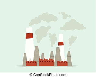 cartoon factory air pollution vector flat image
