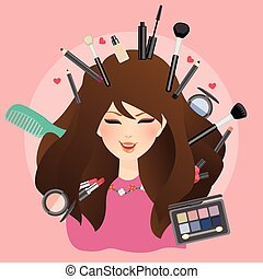 woman girl female smile with make up around glamour lipstick...