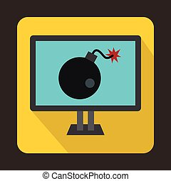 Bomb on computer monitor icon, flat style - icon in flat...