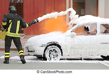 firefighters during exercise to extinguish a fire in a car -...