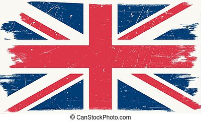 Great Britain flag with grunge texture.Vector British flag.