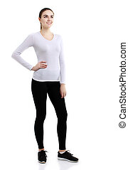 Young healthy fitness woman. Over white background