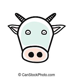 Cartoon animal head icon. Cow face avatar for profile of social networks. Hand drawn design.