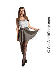 Fashion woman - Beauty fashion woman in white studio