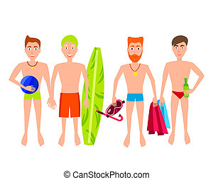 People Relaxing On The Beach Vector Men Characters