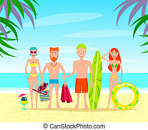 Group of People Relaxing On The Beach Vector Characters