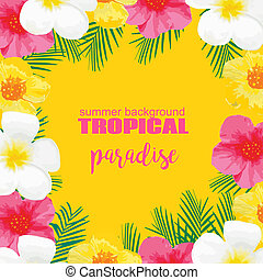 Tropical Summer Poster with Exotic Flowers, Palm Leaves...