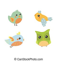 Four Cute Small Birds Collection Of Isolated Childish Style...