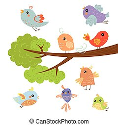 Different Cute Small Birds Sitting And Flying Around Tree...