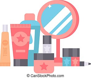 Skin corrective cosmetics vector illustration. - Makeup...