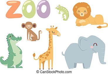 Zoo animals vector set. - Vector zoo animals. Many different...