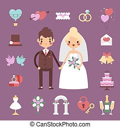 Bride groom wedding vector set.
