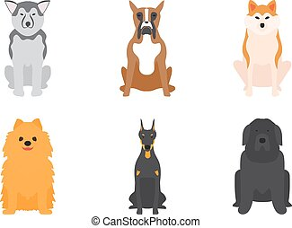 Vector illustration of different dogs breed isolated on...