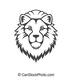 Lion Head Logo on White Background. Vector