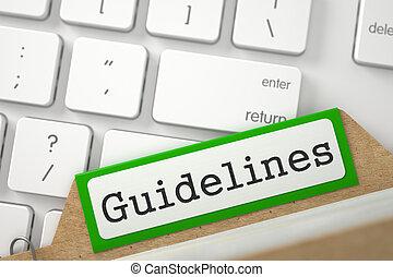 Card File Guidelines - Guidelines written on Green Folder...