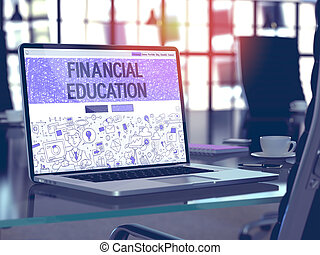 Laptop Screen with Financial Education Concept - Modern...