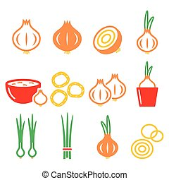Onion, spring onions colorful icons - Food, nature vector...