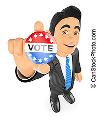 3D Businessman with a vote badge