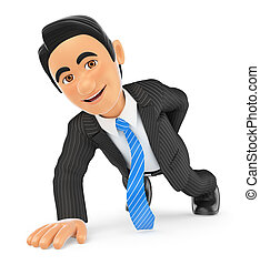 3D Businessman doing push ups with one hand