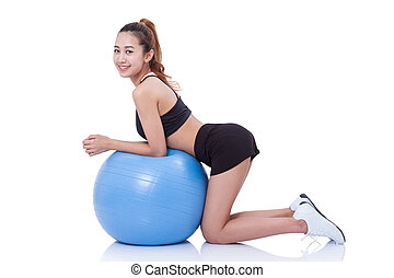 woman with fitness ball.