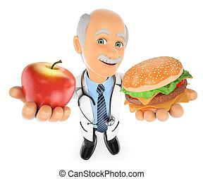 3D Doctor choosing between an apple and a hamburger