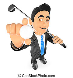 3D Businessman with a ball and a golf club - 3d business...