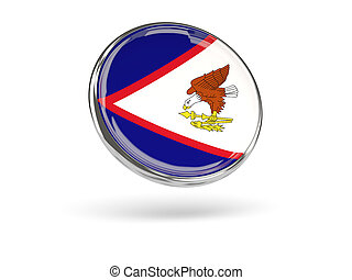 Flag of american samoa. Round icon with metal frame