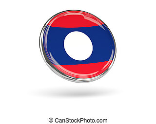 Flag of laos Round icon with metal frame, 3D illustration