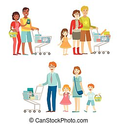 Families With Shopping Carts In Supermarket