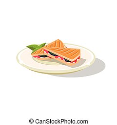 Traditional Italian Sandwich Simplified Flat Vector Icon...
