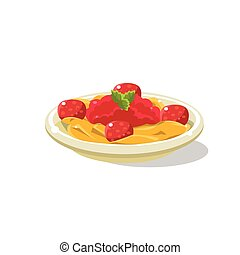 Traditional Italian Pasta Bolognese Simplified Flat Vector...