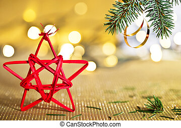 Red Christmas Star - Red Christmas star with needles of...