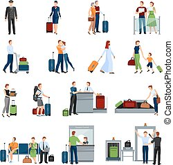 People In Airport Flat Color Icons - People in airport flat...