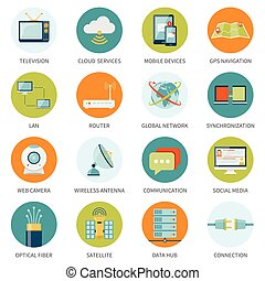 Telecommunication Icons In Colored Circles -...