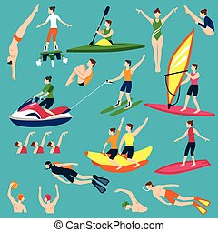 Water Sport And Activities Set - Water Activities Icons Set...