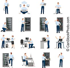 System Administrator Icons Set - System administrator flat...
