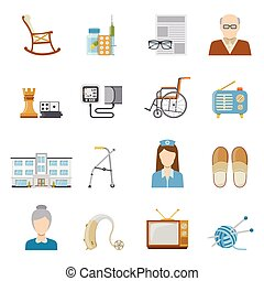 Elderly Care In Nursing Home Icons - Elderly care in nursing...